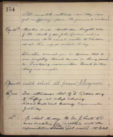 Page from St Kilda School log book