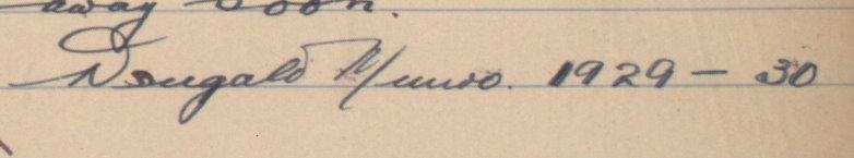 Dougald Munro's signature