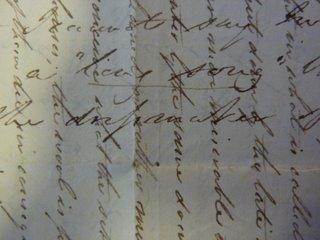 1827 letter detail showing the two directions of text