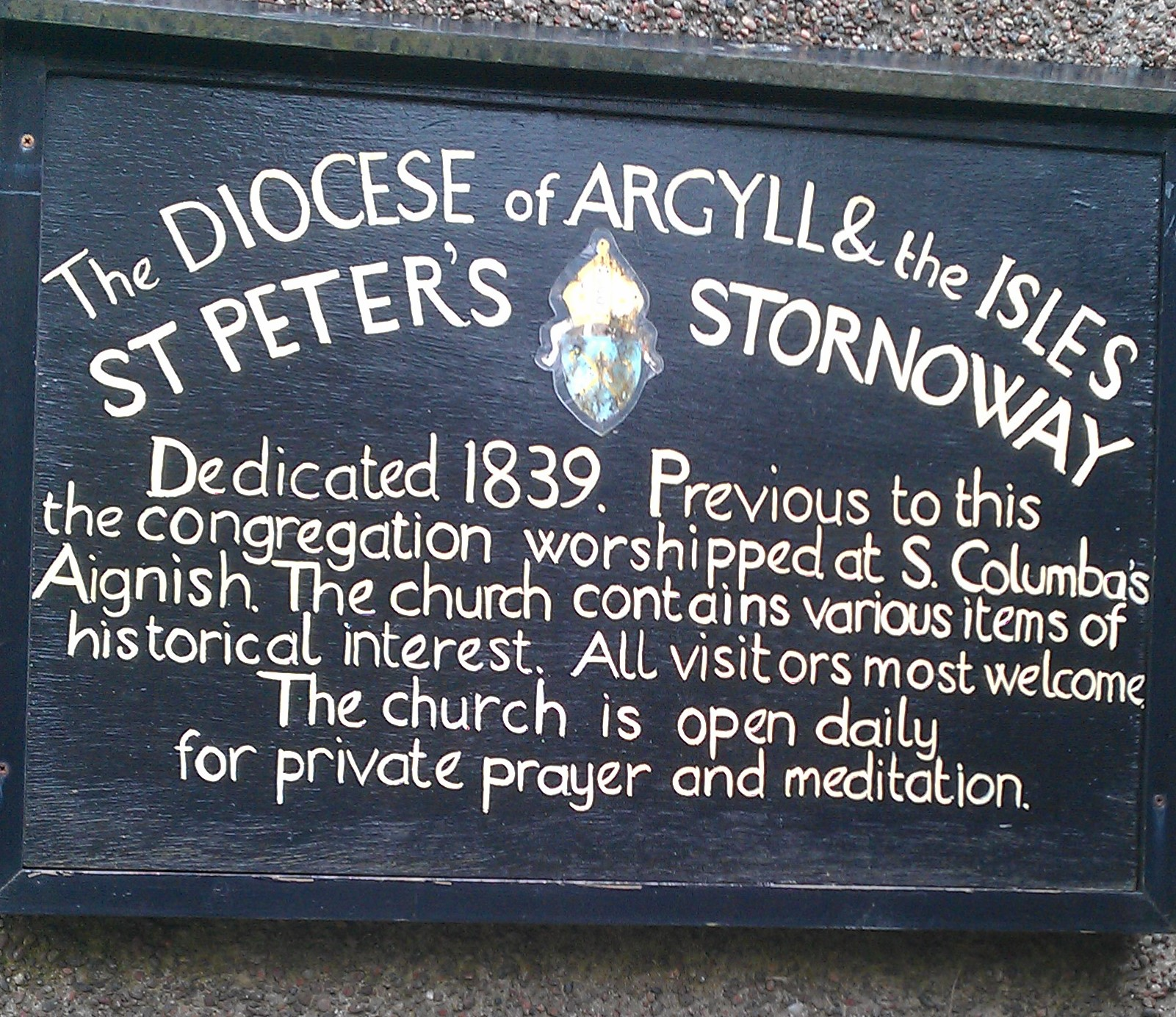 St Peter's Stornoway sign