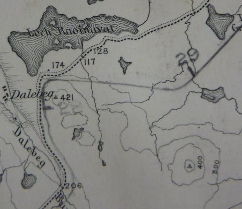Image showing proposed train line at Dalebeg with an erased continuation heading towards Dalemore