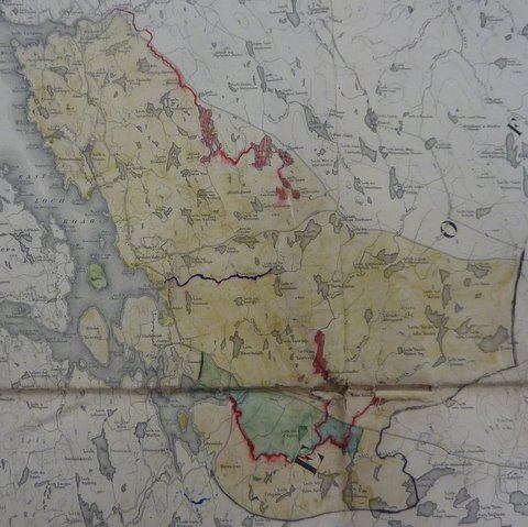 Coloured section of an OS map showing the fishing rights across the Garynahine Estate