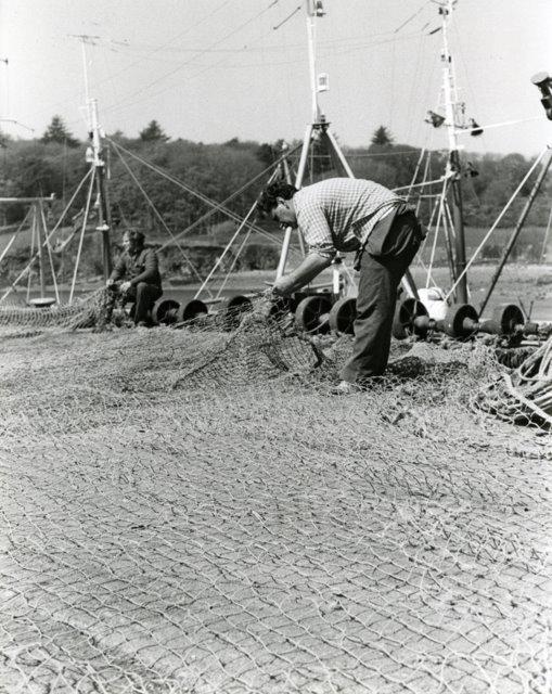 Net mending at Stornoway harbour