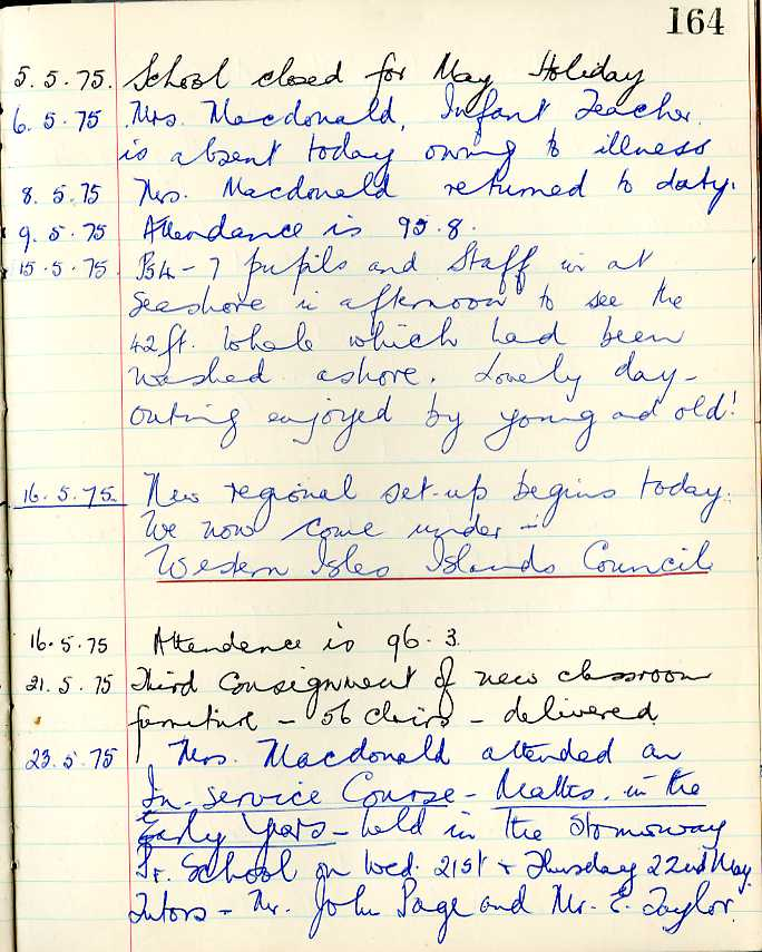 Bragar School log book May 1975