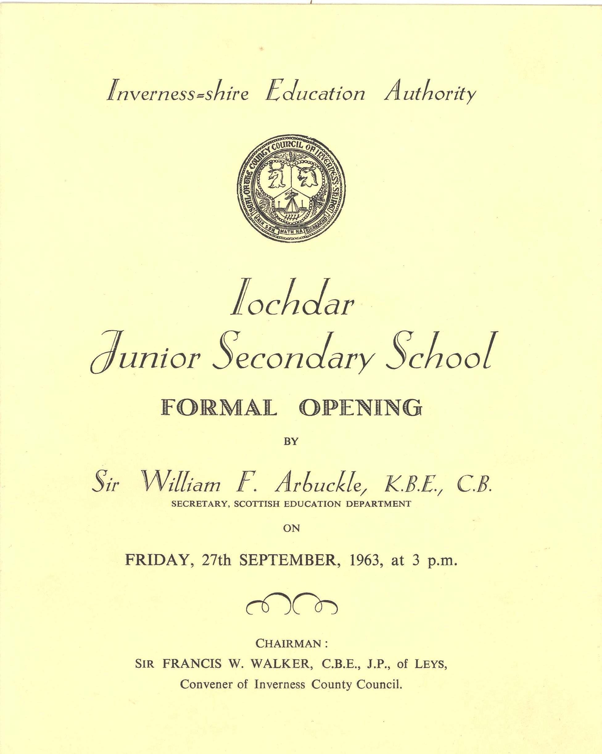 Opening ceremony booklet for Iochdar School September 1963