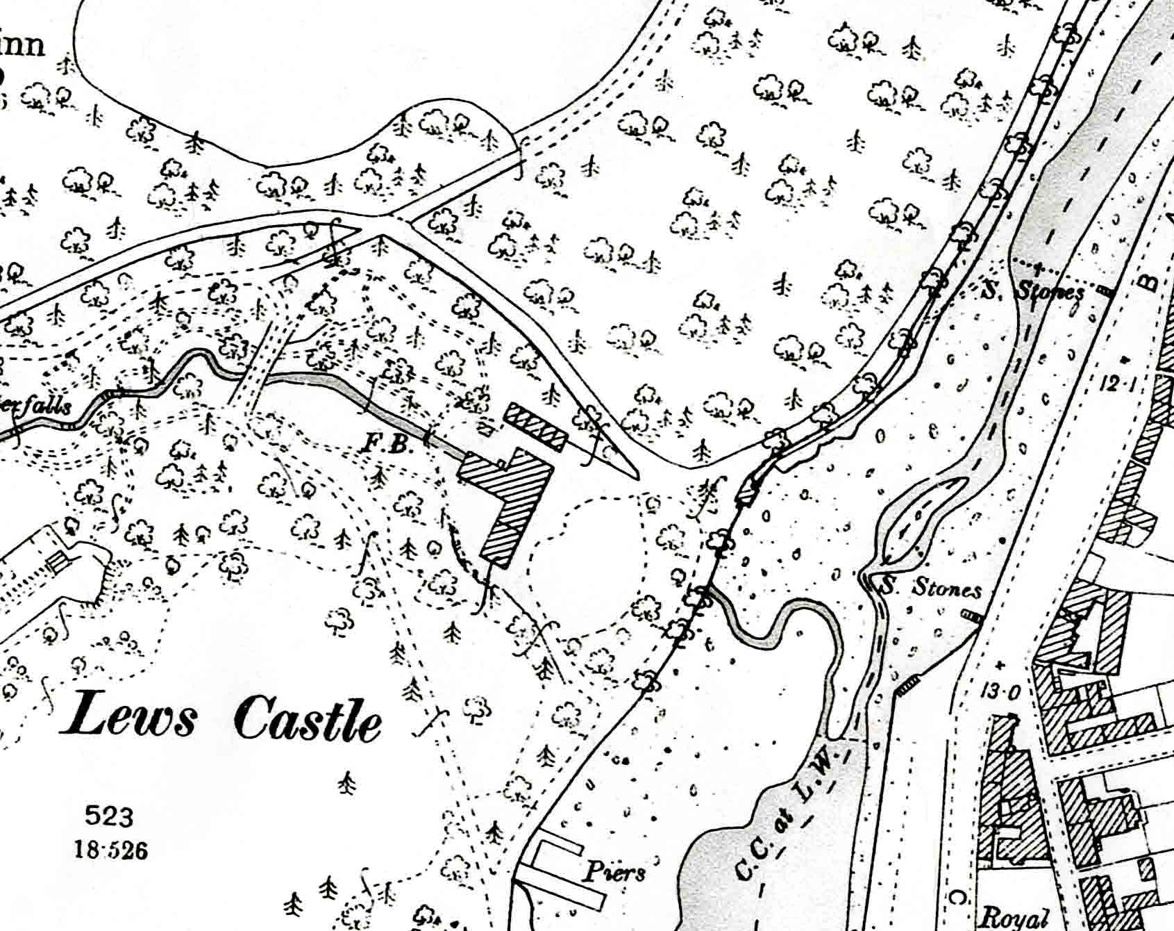 First edition OS map showing Stornoway Distillery