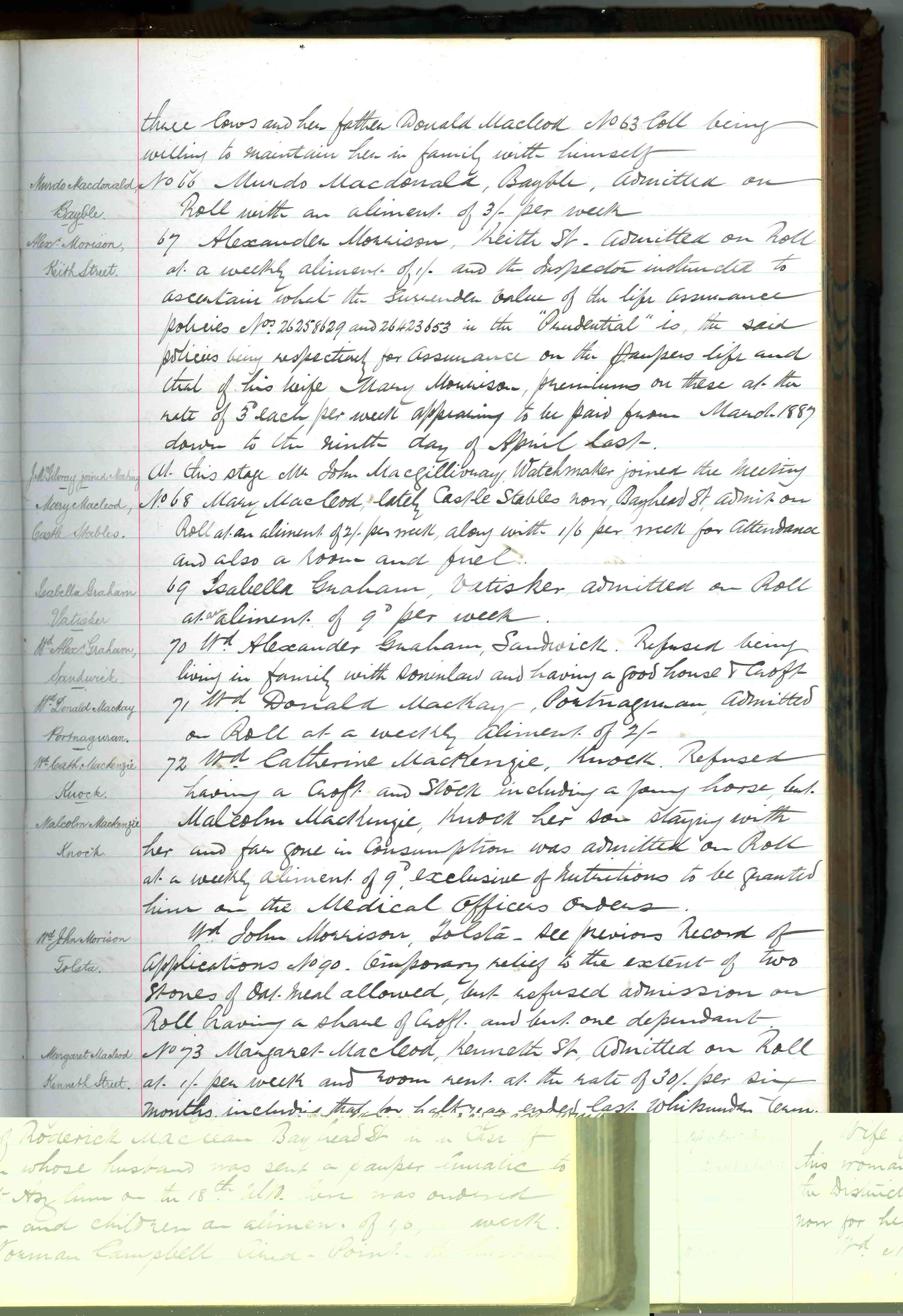 Stornoway Parish Council minute 27 July 1894