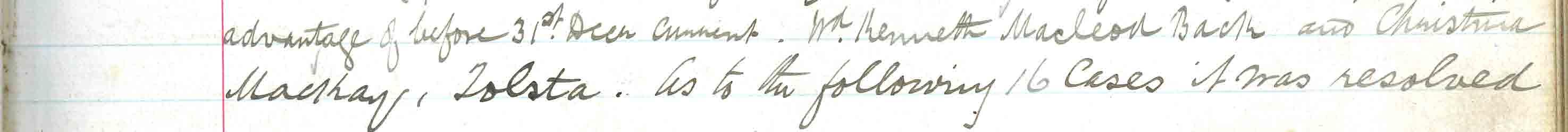 Stornoway Parish Coucnil minute of 27 Oct 1897