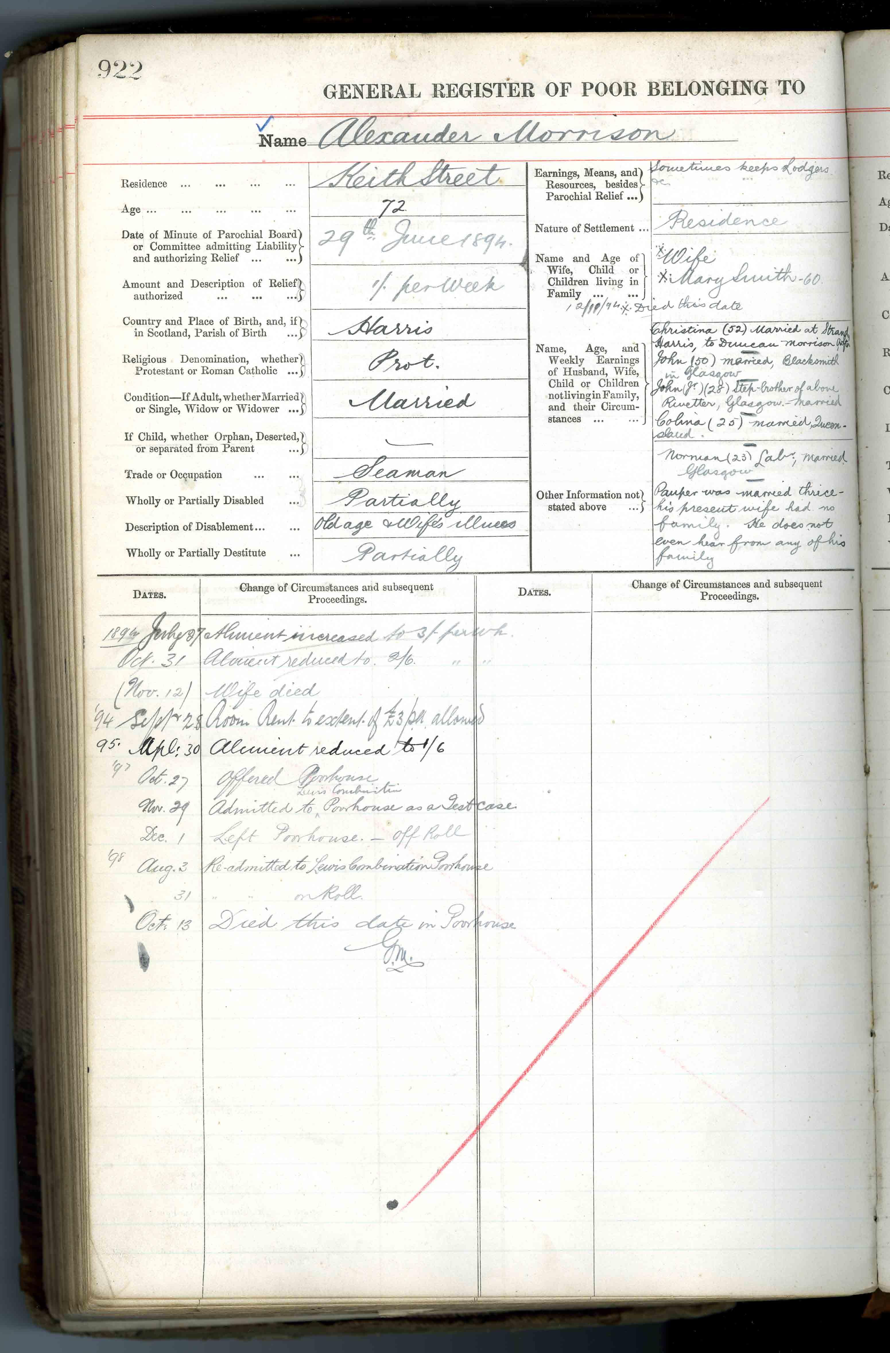 Alexander Morrison's entry in General Register of the Poor