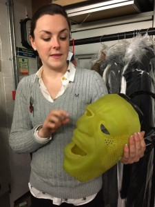 The Everyman production mask by Nicky Gillibrand held by Erin, our guide.