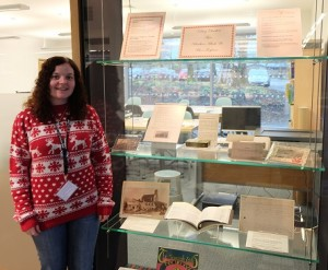 Shona in her Christmas Jumper and the Archive Christmas and New Year Display