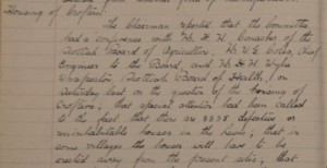 Detail of Lewis District Committee Council Minute book stating 3335 houses defective