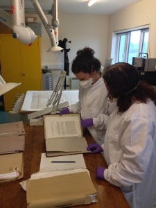 Wearing our safety gear and writing condition reports with Jane, our Conservator