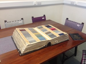 Sample book at the Harris Tweed Authority offices in Stornoway Town Hall