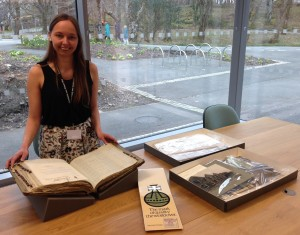 Me (Victoria Woodcock, Project Cataloguing Archivist) with some of the Harris Tweed Authority records
