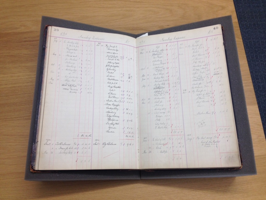 Harris Tweed Association ledger showing expenses from July 1911 to January 1913