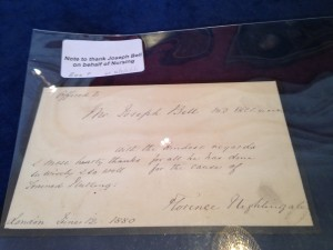 Letter from Florence Nightingale to Mr Joseph Bell