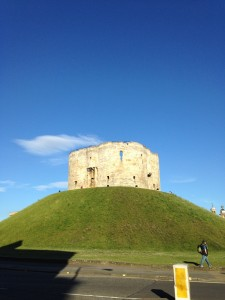 Blue skies above Clifford Tower,  York